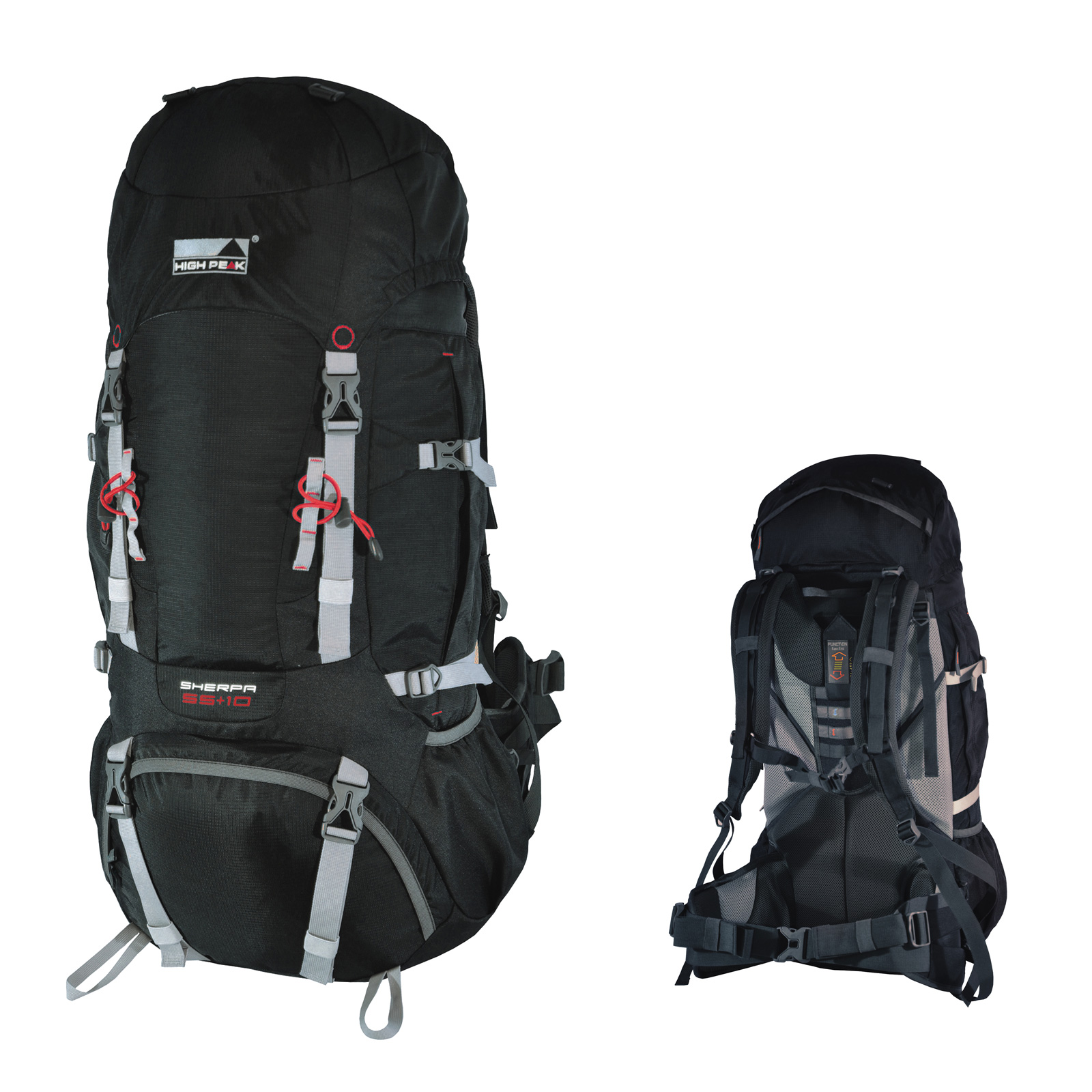 high peak sherpa 65 10 l sac a dos trekking marche rando noir neuf ebay. Black Bedroom Furniture Sets. Home Design Ideas