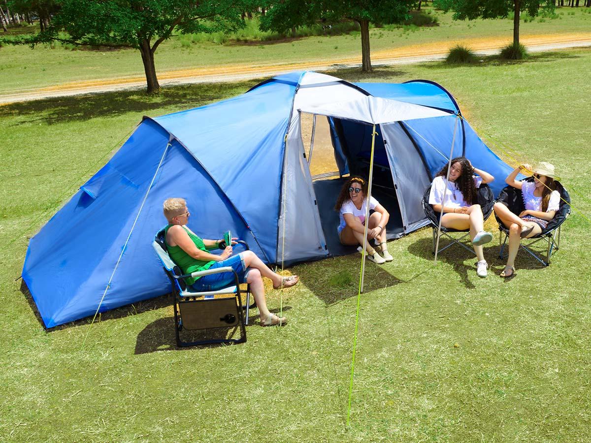 Skandika harstad 6 persone tenda familiare 2x cabine blu for Cabine di pesca nel ghiaccio alberta
