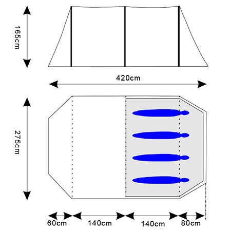 skandika-Kambo-4-Tente-camping-familiale-Tunnel-4-Pers-Marquise-Bleu-NEUVE