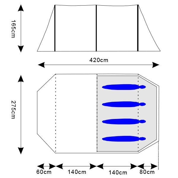 skandika-Kambo-4-Tente-camping-familiale-Tunnel-4-Pers-Marquise-Rose-NEUVE miniature 6