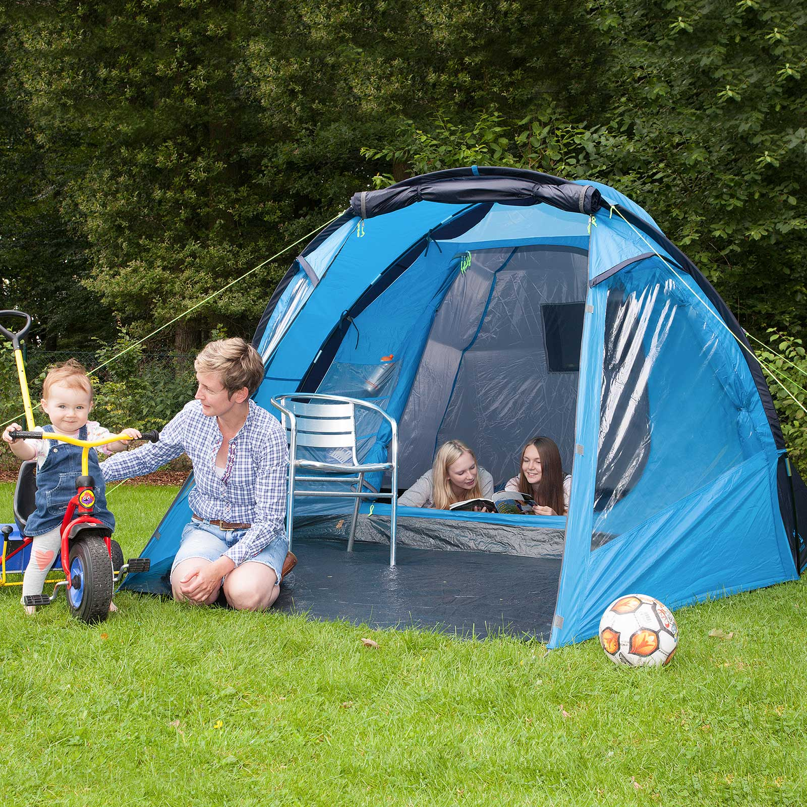 skandika drammen 4 pers tente dome familiale camping bleu. Black Bedroom Furniture Sets. Home Design Ideas