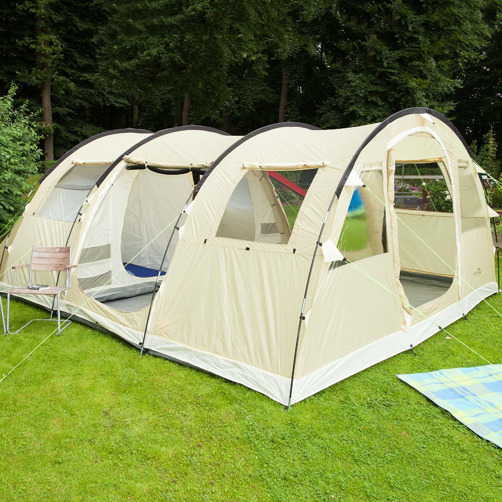 skandika gotland 6 pers tente camping tunnel familiale 540x450cm sable neuf ebay. Black Bedroom Furniture Sets. Home Design Ideas