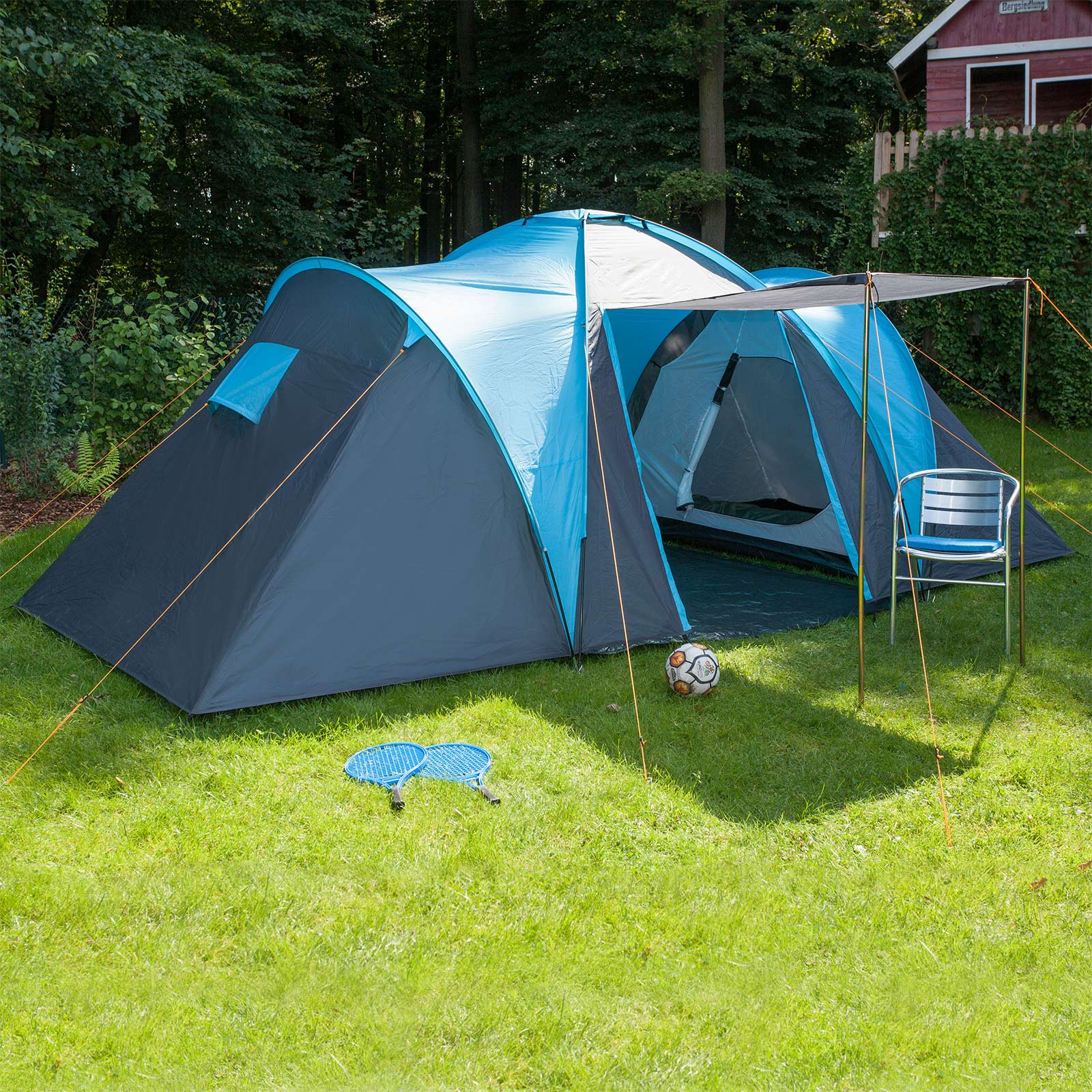 skandika hammerfest 4 person man family tent camping blue. Black Bedroom Furniture Sets. Home Design Ideas