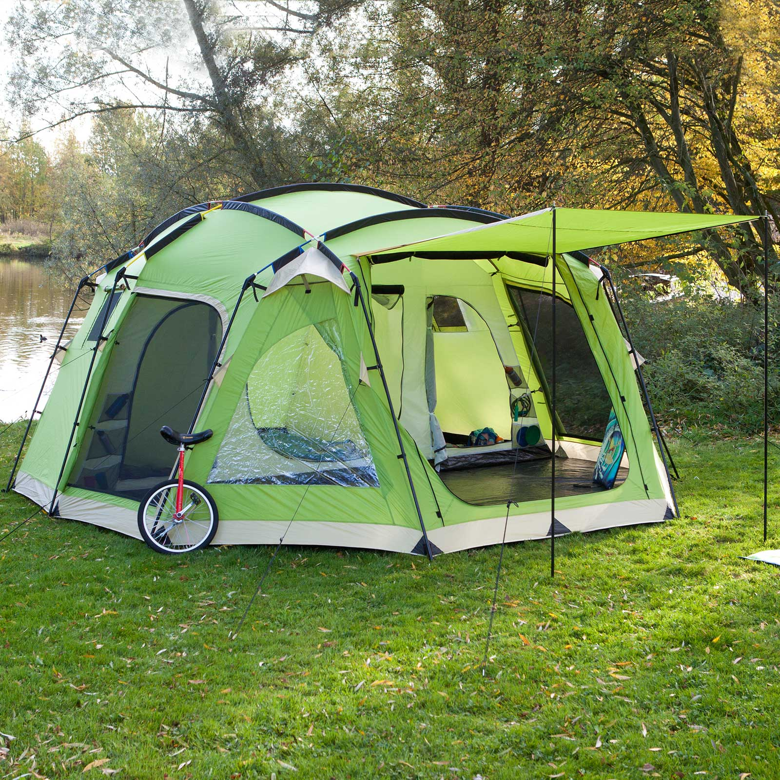 skandika copenhagen 6 8 personen familienzelt kuppel zelt moskitonetze blau gr n ebay. Black Bedroom Furniture Sets. Home Design Ideas