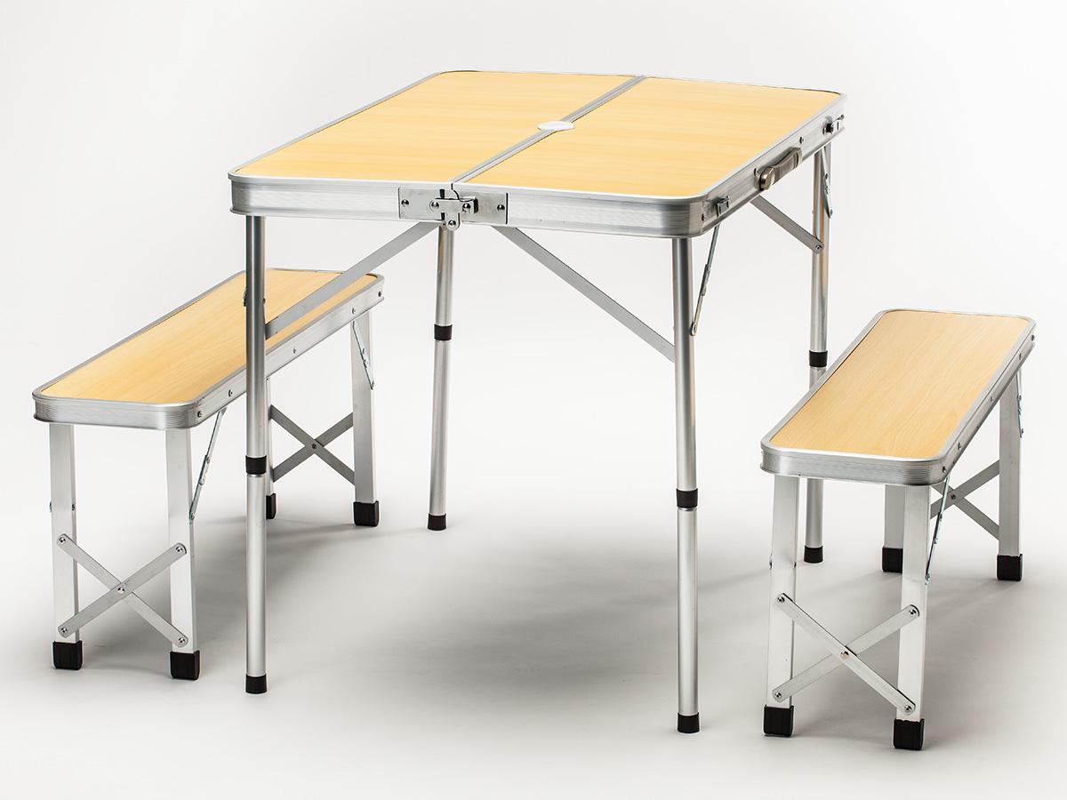 skandika camping picknick tisch set alu mit 2 b nken f r 4. Black Bedroom Furniture Sets. Home Design Ideas