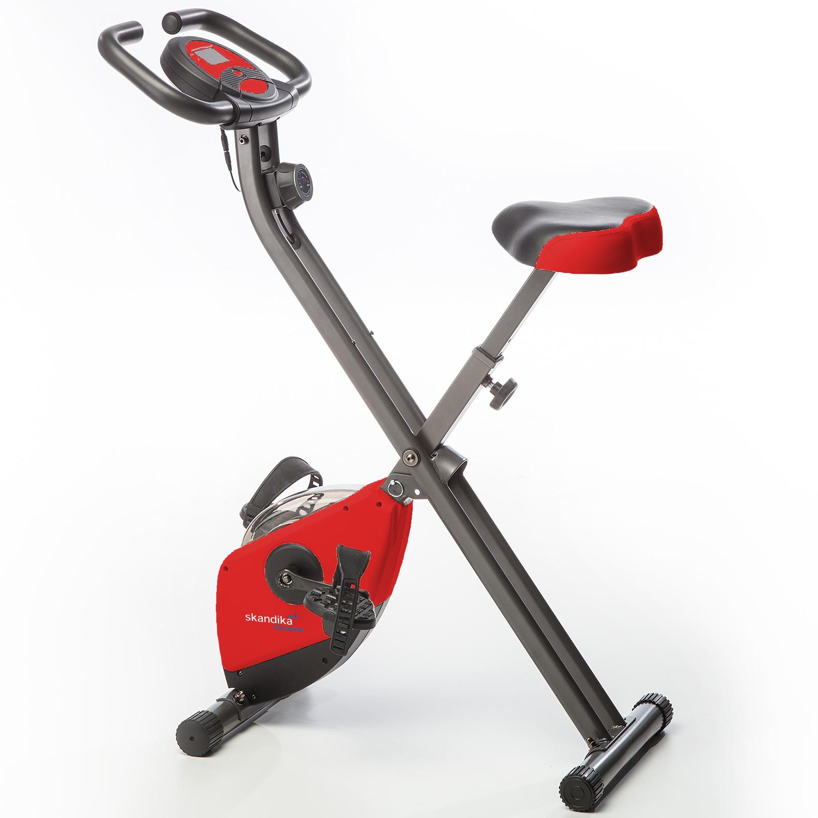Skandika Foldaway X-1000 bicicleta estática fitness plegable 110 kg roja nueva